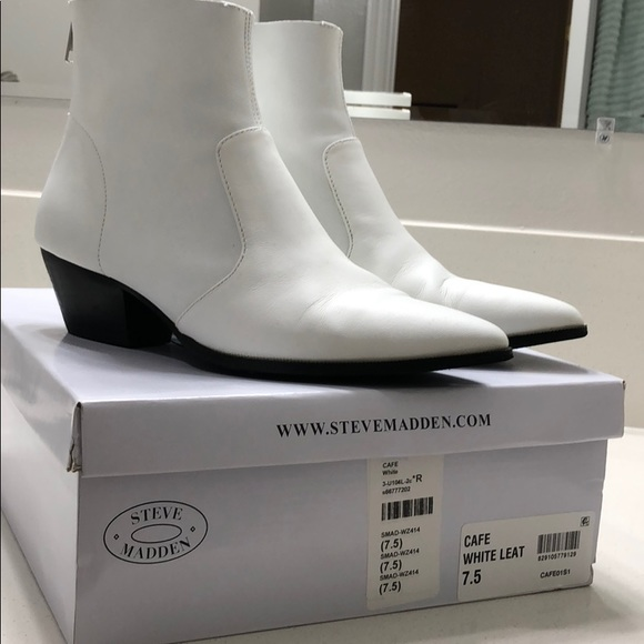 2255fbc8f76 Steve Madden Cafe Bootie White Leather